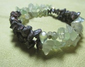 Prehnite and Crinold Bracelet,  Release the Past, Healing Stone, Crinold- Fossilized Agate Gemstone Synergy, Unique Memory Wire