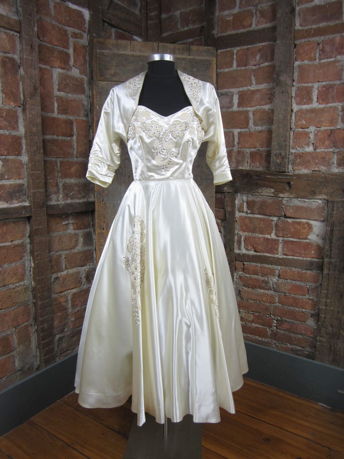 1950s wedding dress tea length dress vintage by missionmod for Etsy tea length wedding dress