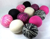 Wool Dryer Balls - Pink & Black Zebra Dreams - Set of 12 - An Eco-Friendly Alternative to the Conventional Dryer Sheet and Fabric Softener!