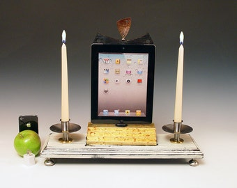 iPad Shrine. iPad Alter. Docking station with wall charger for ANY iPad. Cottage Rustic. 613.  Antique white and gold leaf..