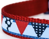 Bunting Flags Dog Collar, Adjustable, Ribbon Dog Collar, Nautical,  Red, White and Blue