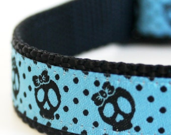 Polka Dots Blue Skulls Dog Collar / Ribbon Dog Collar / Blue Dog Collar / Hipster