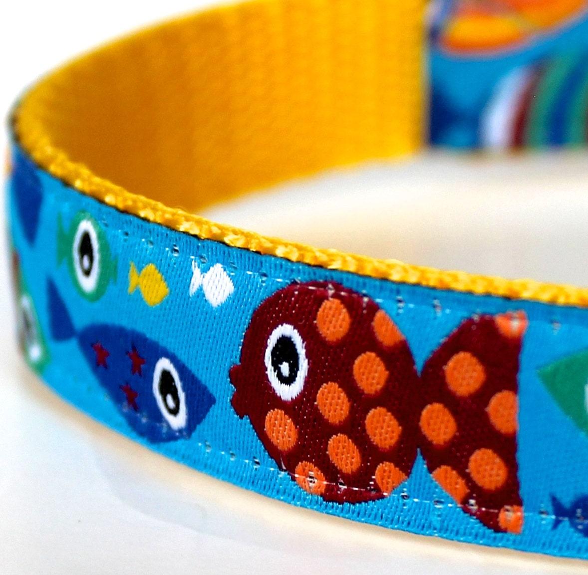Bright fish dog collar adjustable dog collar european for Fish dog collar