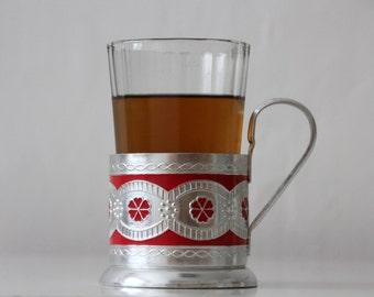 Set of Vintage Russian drinking glass and tea glass holder or  Podstakannik from USSR