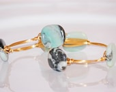 Gemstone Bangle- Amazonite with Blacks, White and Greens and Gold Wire