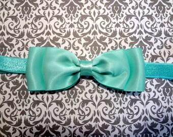 Aqua Satin Bow Headband. Aqua Hair Bow, Aqua Bow Headband, Baby Girls Hair Accessories, Baby Hair Accessories, Flower Girl Headband, Aqua