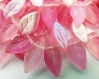 50 Czech Glass Leaves in Matte Two Toned Pink  Size 10x5mm