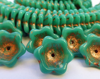 15 Large Glass Flower Beads in Opaque Green Turquoise with Gold Viens  15mm size