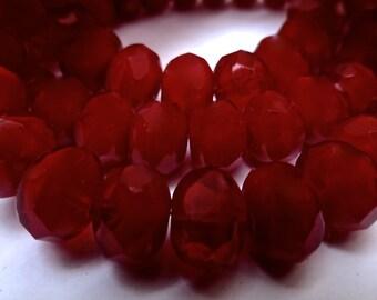 25 Czech Glass Fire Polish Roundels in a Beautiful Dark Burgundy Red Opal 9x6mm