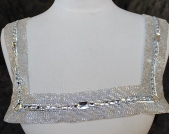 Cute embroidered   and beaded  applique with rhinestones