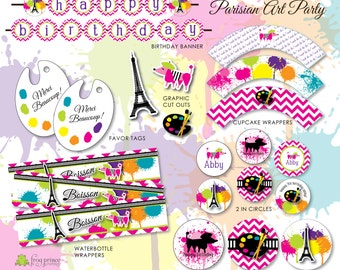 Parisian Art Party Birthday Printable Party Package - Customized DIY