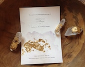Gold Foil and Watercolor Wedding Invitation Suite