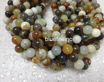 32 pcs 12mm round smooth Chinese Flower jade beads