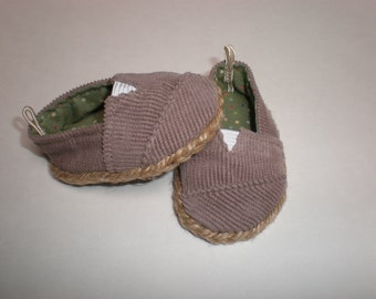 LIGHT BROWN CORDUROY Espadrilles Toms 18 inch doll clothes