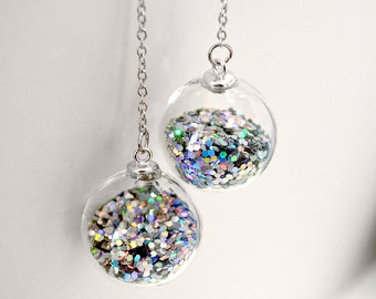 Round prism glitter in hand blown glass ball long drop silver earrings