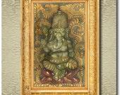 Ganesha - Original Painted Silk Carving or Quilt Sculpture