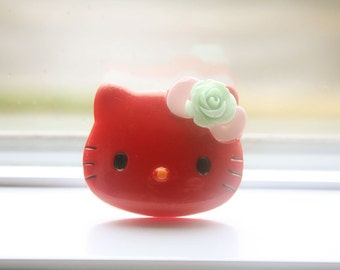 Kitty red face ring