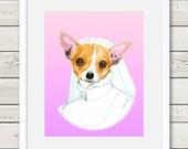 Chihuahua Art - Chihuahua Bride Dog Portrait Painting - Wedding Dog Art - dog home decor, dog gift