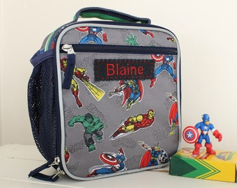 Marvel Superheroes Lunch Box Personalized (Pottery Barn) -- Marvel Avengers Classic style