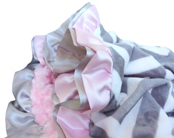 New Double Ruffle Gray and White Chevron with Baby Pink Minky Swirl Baby Blanket