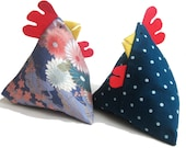 2 Funky Chicken Doorstops of your choice - 15% off (flatpacked, fill with rice)