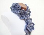 Scarf, Crochet Scarf, Lariat Scarf, Grey Flower Lariat Scarf, Flower Accessories, Lariat Skinny jewelery
