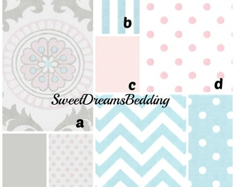 Custom Crib Bedding You Design   Bumper and Bedskirt in PInk and Gray Rosa