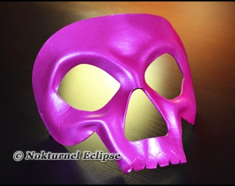 Pink Skull Leather Mask Skeletor HeMan Comic Con Cosplay Horror Masquerade Halloween Fetish Costume UNISEX  -  Available In Any Basic Color