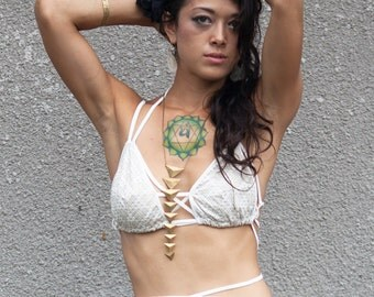 Sale Pyramid print string bra