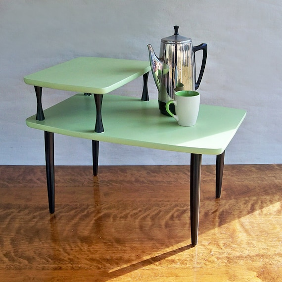 Mid Century Modern 2 Tiered End Table Side Table Melon