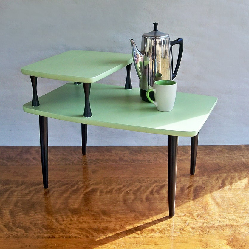 Small Mid Century Modern End Tables: Mid Century Modern 2 Tiered End Table Side Table Melon