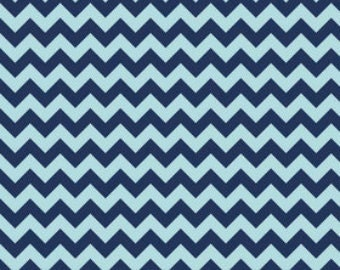 Small Navy and Aqua Chevron  Cotton Fabric in Yard 3/4 Half and 4th a Yard  by Riley Blake for Quilting/ Sewing/ Applique/ Craft Sewing