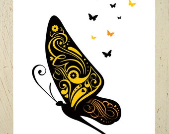 Butterflies in flight. A yellow butterfly digital art print by Erupt Prints. A gorgeous addition to any little girls room or nursery