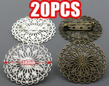 20 Filigree Brooch Base- Brass 38mm Round Filigree Floral Base Setting W/ Pin Brooch, Antique Bronzed/ Silver Plated Tone available- Z6203