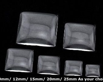 Square Shaped Clear Glass Cabochons- 10mm/ 12mm/ 15mm/ 20mm/ 25mm As your choice