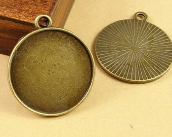 40 Pendant trays- 30mm Round Bezel Cup Cabochon Mounting with ring, 288g
