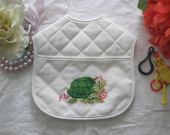 Turtle Cross Stitch Cutie Bib-Drool Bib-Free Shipping