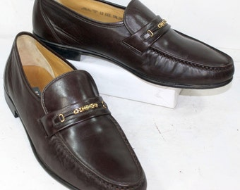 Vintage brown dress shoes Bally Switzerland mens loafers Leather gold fashion 12 EEE