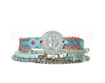The original OOAKjewelz multiple strands gypsy bracelet 'lucky coin' - mint / silver - beaded hippie bracelet - coin bracelet