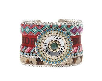 Leopard hair on hide animal print cuff - friendship bracelet statement cuff with Swarovski crystals and handstamped washer 'peace love joy'