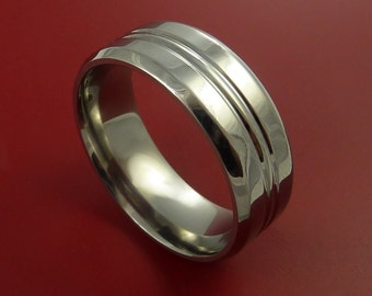 Titanium Wedding Band Engagement Ring Modern Made to Any Sizing and Finish 3-22
