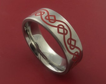 Titanium Womens Celtic Heart Band Any Size Ring 3 to 22 Red. Green, Blue, Black Inlay