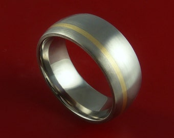Titanium 14K Yellow Gold Ring Custom made Band Any Finish and Sizing from 3-22