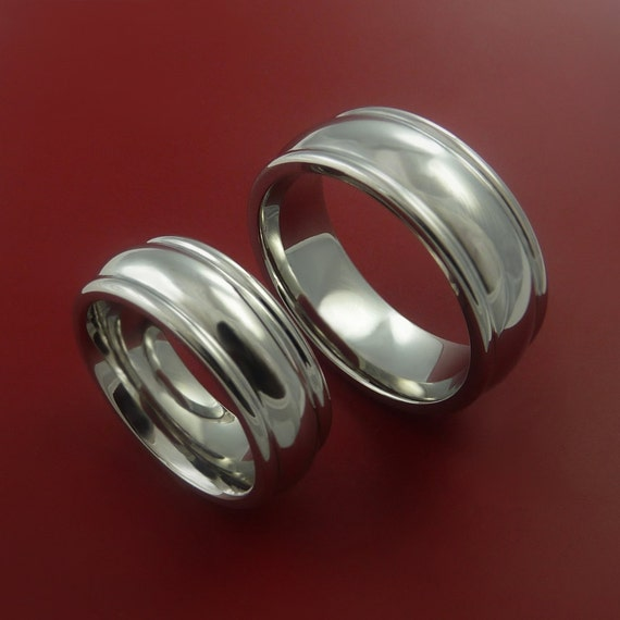 Titanium His and Her Matching Wedding Bands Contemporary Ring Set Sizes 3-22