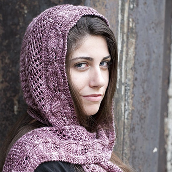 Hooded Scarf Knitting Pattern For Beginners : Lady Ediths Hooded Scarf Knit Pattern PDF by daydreamerknits