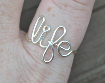 Word Ring, Wire Word Ring Adjustable Wire Wrapped Word Ring LIFE Non Tarnish Silver Plated Wire