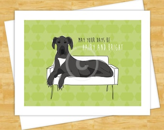 Dog Christmas Cards - Black Great Dane May Your Days Be Hairy and Bright - Happy Holidays Funny Christmas Cards