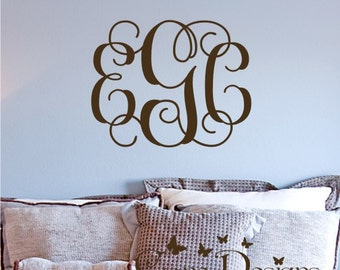Personalized Vine Monogram, Monogram wall decal, Nursery decal, Custom monogram