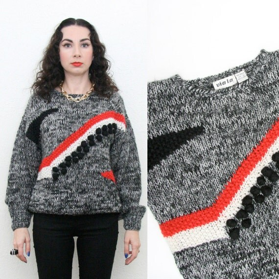 Vintage 80s  Hipster Sweater With Abstract Pom Pom Design New Wave Jumper Medium Large