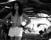 Vintage 1970s White Levi's 550 LEVI & Strauss Denim Shorts CUTOFFS Unisex Orange Tag